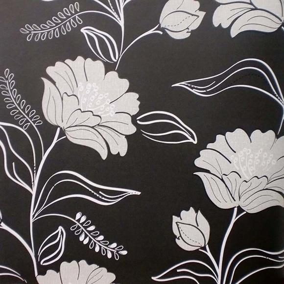 Papel pintado flores noche negro ref 16091544 leroy merlin for Papel pintado leroy