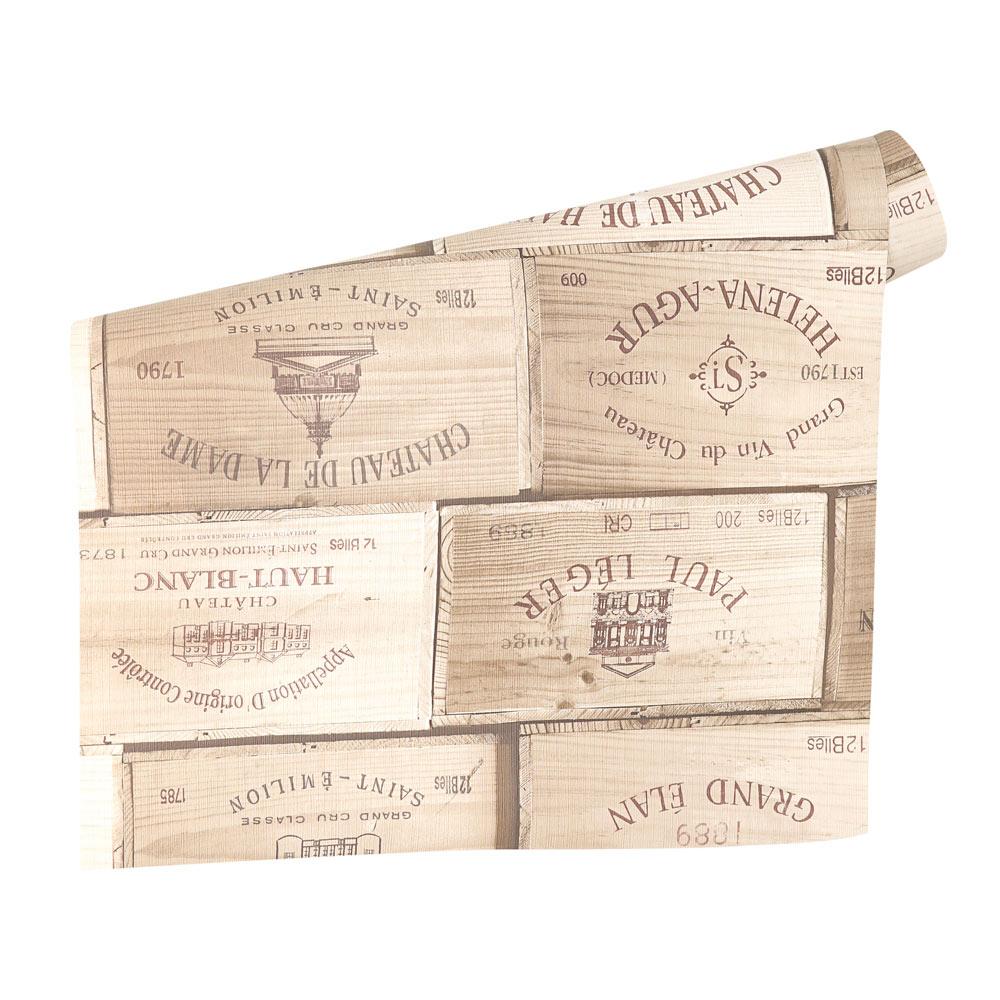 Papel pintado cajas vino ref 17906644 leroy merlin - Cajas de vino para decorar ...
