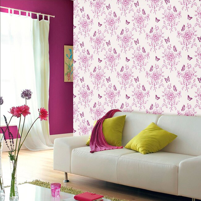 Papel pintado dulce mariposas ref 16093014 leroy merlin - Papel para cubrir paredes ...