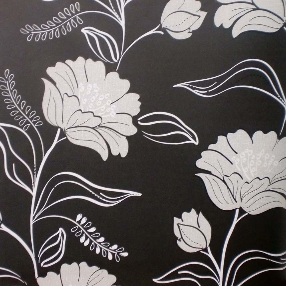 Papel pintado flores noche negro ref 16091544 leroy merlin for Imagenes papel pintado