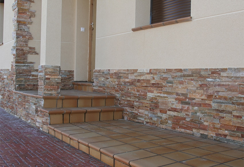 Revestimiento de piedra natural 60x15 laja ocre ref 13151635 leroy merlin - Revestimientos de paredes imitacion piedra ...