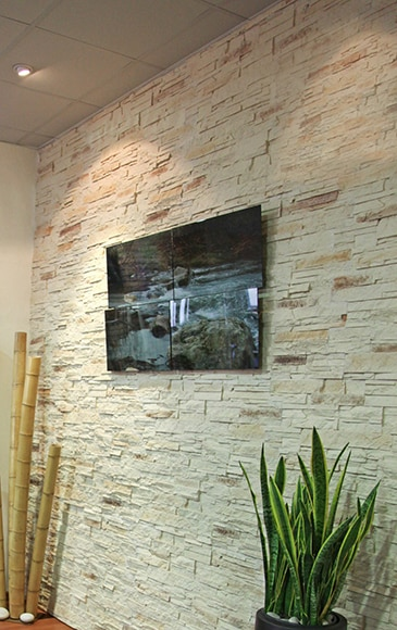 Panel de poliuretano con acabado pizarra panespol piedra for Plaquetas decorativas para exterior