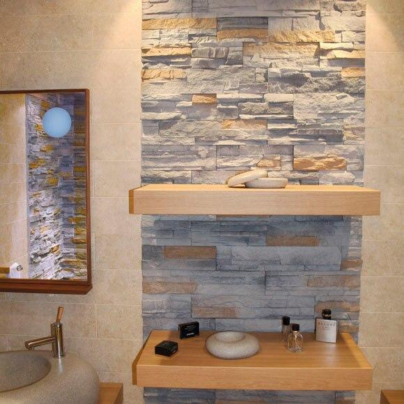 Plaqueta decorativa de hormig n con acabado laja for Precios de piedra decorativa para interiores