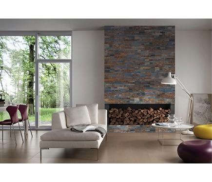 Revestimiento de piedra natural 40x15 minilaja negra ref 14834785 leroy merlin - Revestimiento paredes interiores pizarra ...
