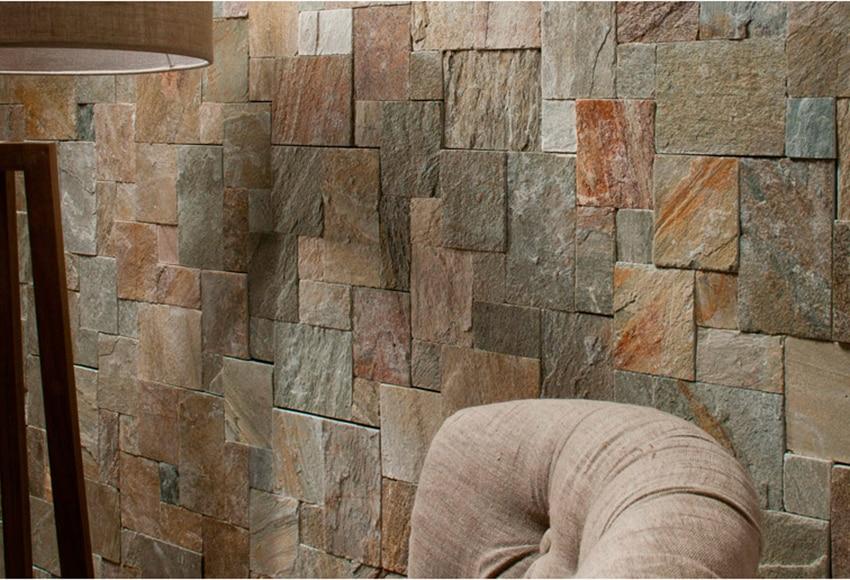 Aplacada de piedra natural p bernardos tetris cuarcita - Revestimiento de paredes leroy merlin ...