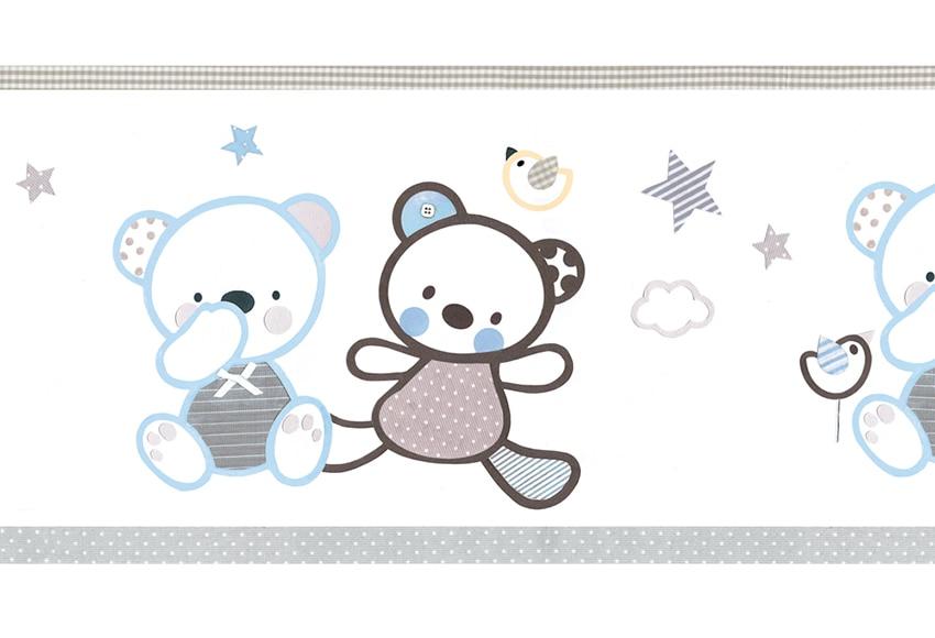 Cenefa infantil de papel ositos azules ref 16759316 - Cenefas leroy merlin ...