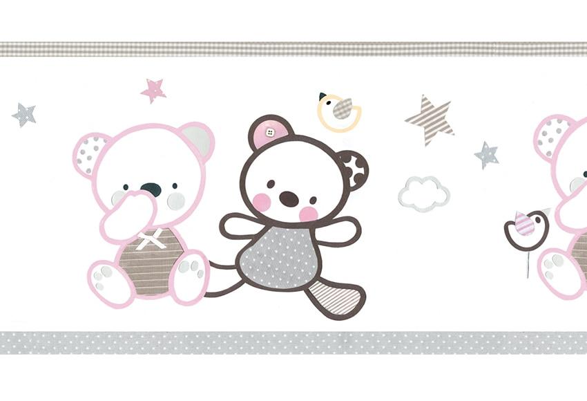 Cenefa infantil de papel ositos rosas ref 16759400 - Cenefas de papel para paredes ...