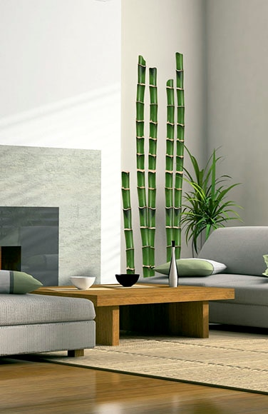 Vinilo floral ca a bamb verde ref 14381381 leroy merlin - Cana bambu decoracion ...
