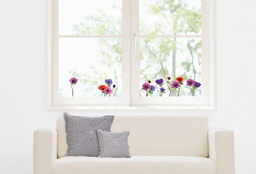 Vinilo para ventana flores multicolor ref 16855202 for Vinilo leroy merlin cristal