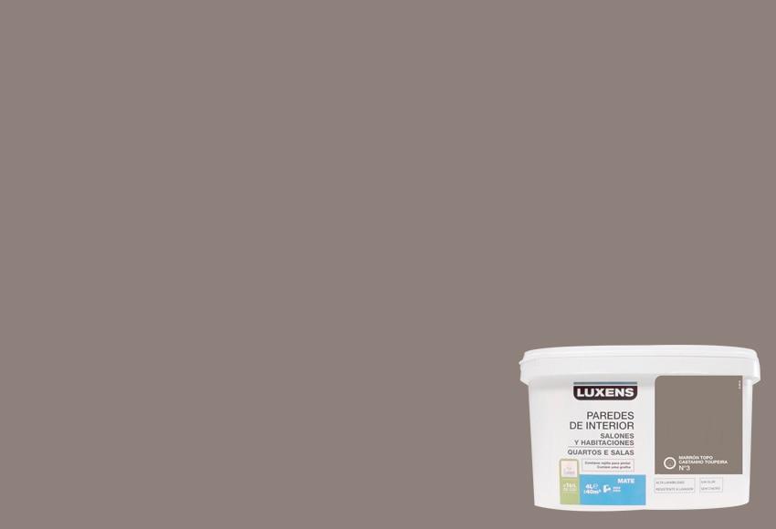 Pintura de color para paredes y techos luxens marr n topo for Pintura para radiadores leroy merlin