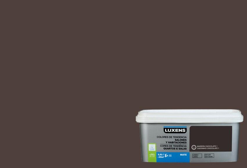 Pintura de color para paredes y techos luxens tendencia - Pared marron chocolate ...