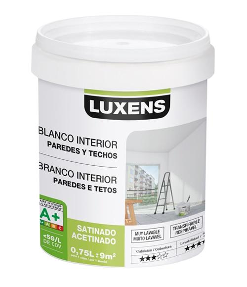 Pintura blanca para interior luxens satinada ref 18087160 - Pintura satinada blanca ...