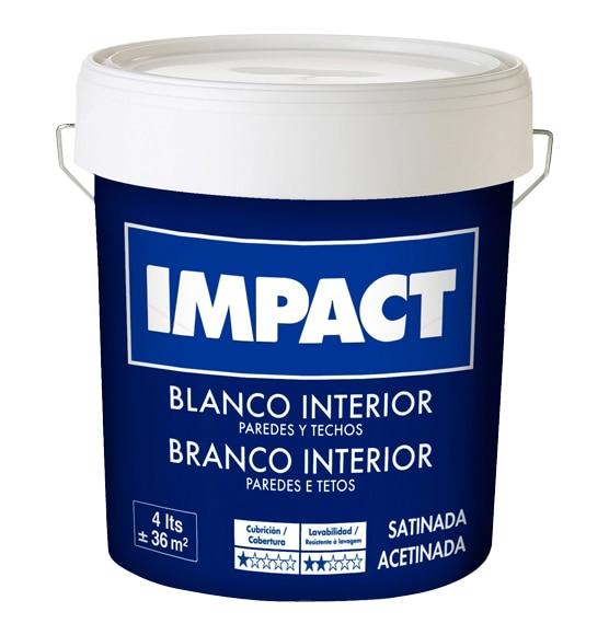 Pintura blanca para interior satinada impact ref 15523221 for Pintura satinada blanca para puertas