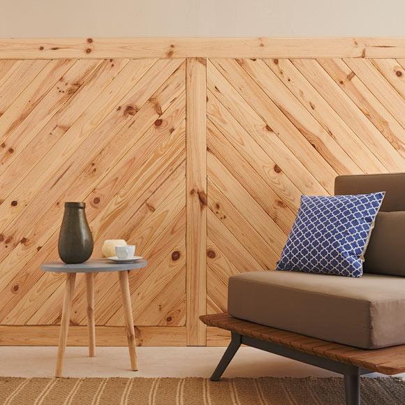 Revestimiento rastrelado de pino montero barnizado ref - Revestimiento paredes interiores leroy merlin ...