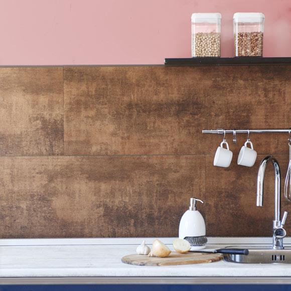 Revestimiento para pared de pvc attitude cobre xido ref Revestimiento de paredes para duchas