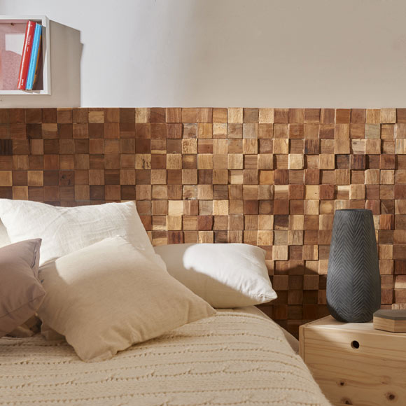 Revestimiento de pared ultrawood teak square ref 19216722 for Revestimiento paredes interiores leroy merlin