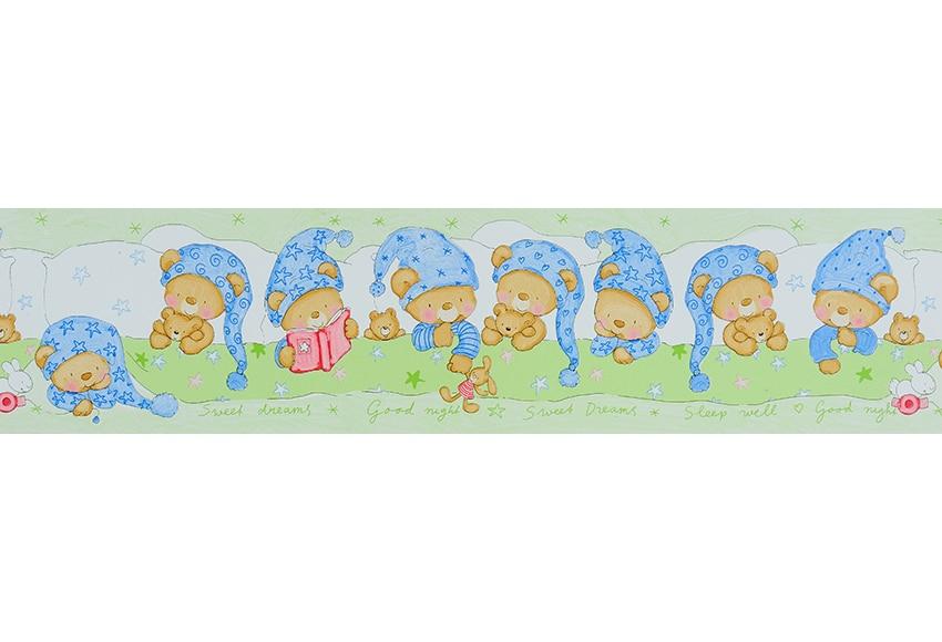 Cenefa infantil de papel oso dormilon verde ref 15629096 - Cenefas leroy merlin ...