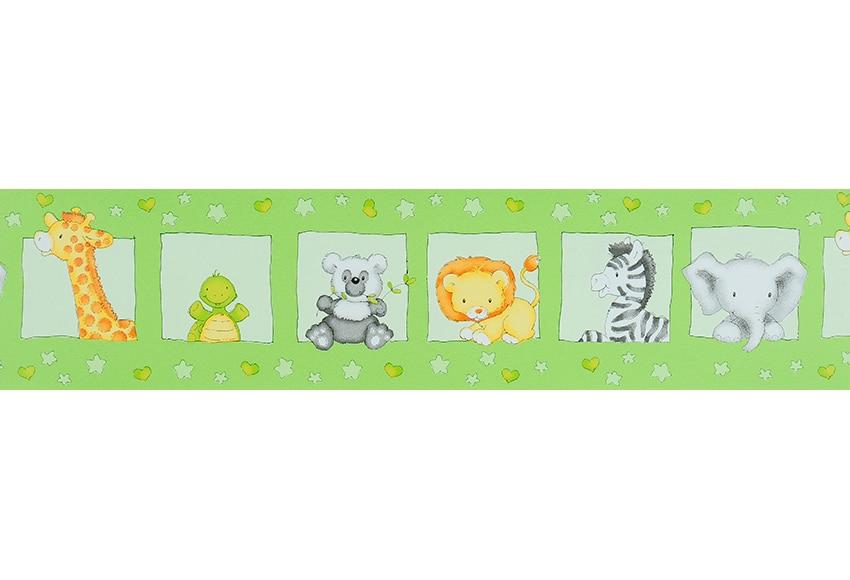 Cenefa infantil de papel safari verde ref 15629110 - Cenefas de papel para paredes ...