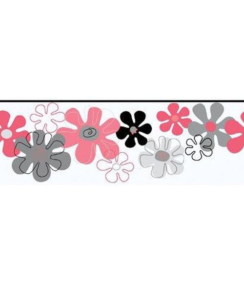 Cenefa infantil de papel flores purpurina ref 15629334 - Cenefas leroy merlin ...