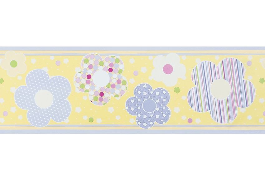 Cenefa infantil de papel flor amarillas ref 15693090 for Papel decomural infantil