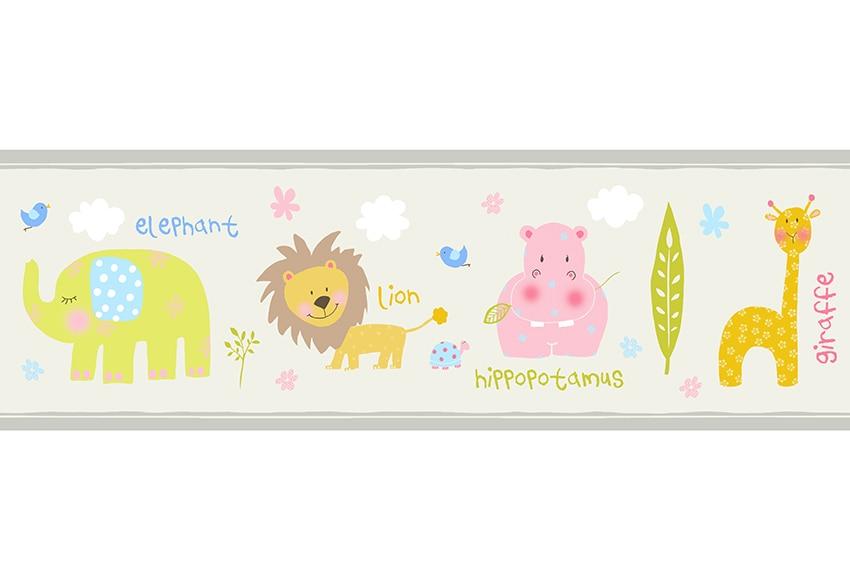 Cenefa infantil de papel safari beige ref 17432653 - Cenefas de papel para paredes ...