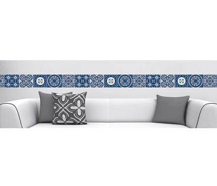 Cenefa de vinilo azulejos azul ref 19119296 leroy merlin for Vinilos azulejos bano leroy merlin