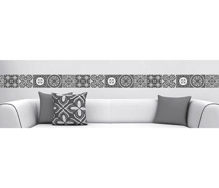 Cenefa de vinilo azulejos blanco y negro ref 19119345 for Vinilos azulejos bano leroy merlin