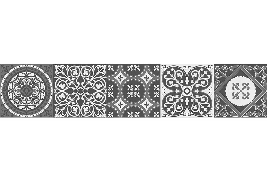 Cenefa de vinilo azulejos blanco y negro ref 19119345 for Cenefas ceramica