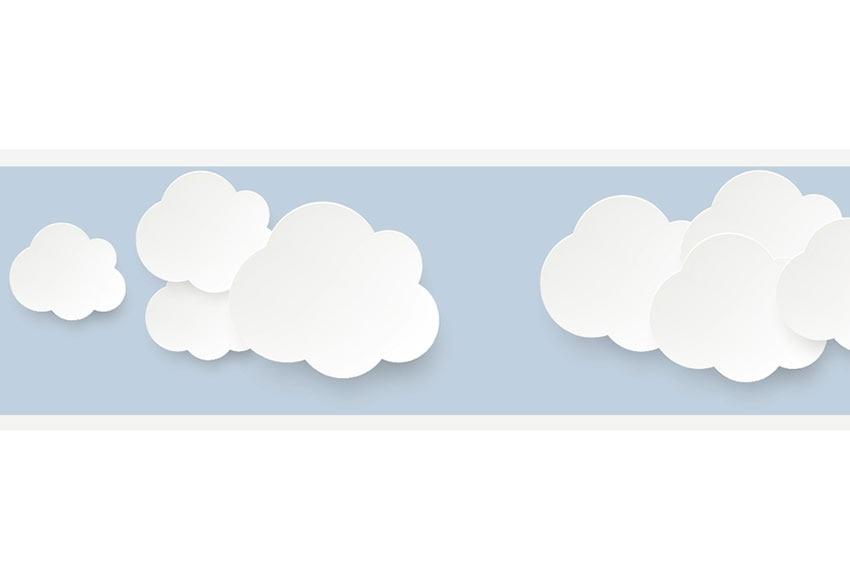 Cenefa infantil de papel nubes azul ref 19120213 leroy - Cenefa adhesiva infantil ...