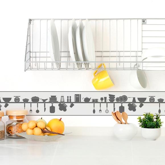 Cenefa de papel para cocinas utensilios ref 19439910 for Figuras decorativas jardin leroy merlin