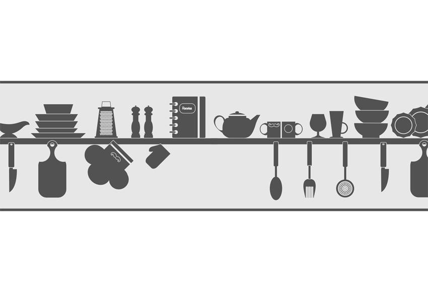 Cenefa de papel para cocinas utensilios ref 19439910 - Cenefas cocina leroy merlin ...