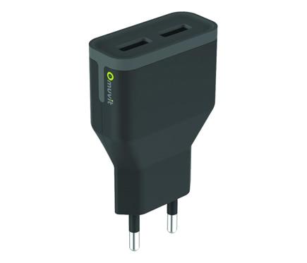 MUVIT Cargador USB Micro USB Negro