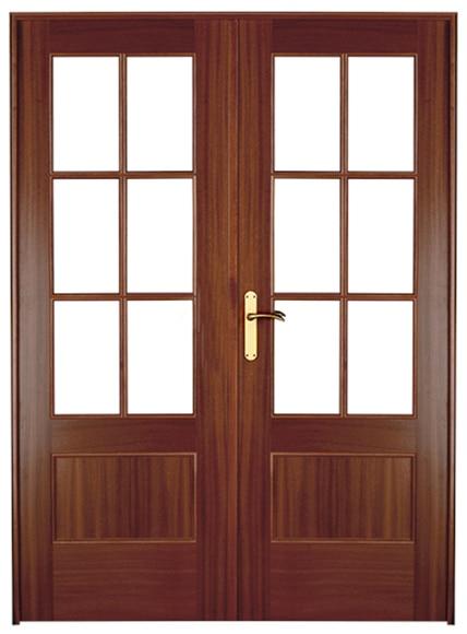 Puerta de interior sin cristal atenas sapelly doble ref - Puertas interior cristal ...