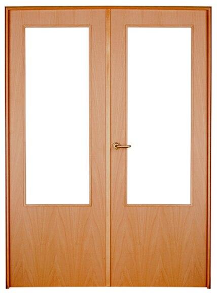 Puerta de interior sin cristal austria haya doble ref for Puerta doble interior