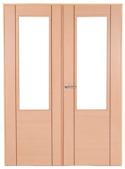 Puerta de interior con cristal baleares haya doble ref for Puerta doble interior