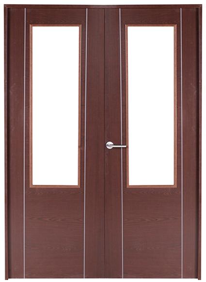 Puerta de interior con cristal baleares wengue doble ref - Puertas interior cristal ...