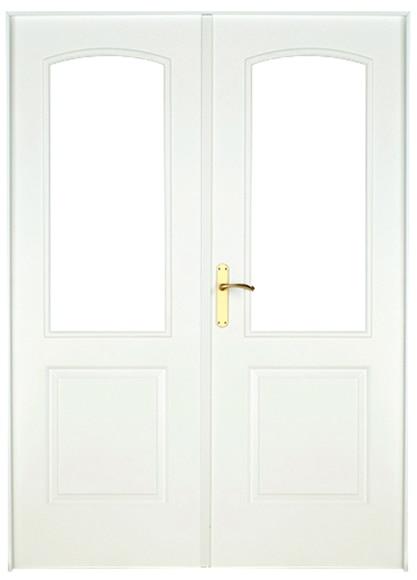 Puerta de interior sin cristal berlin lacada blanca doble for Puerta blanca cristal
