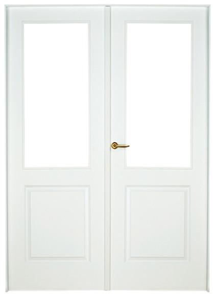 Puerta de interior sin cristal bonn lacada blanca doble for Puerta blanca cristal