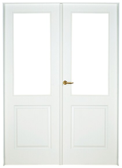 Puerta De Interior Sin Cristal Bonn Lacada Blanca Doble