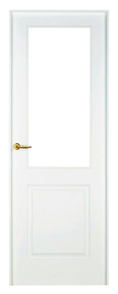 Puerta de interior con cristal bonn lacada blanca vidriera for Puerta lacada blanca con cristal