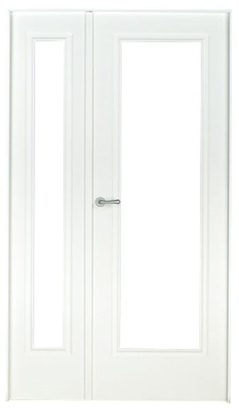 Puerta de interior con cristal boston lacada blanca doble for Puerta blanca cristal
