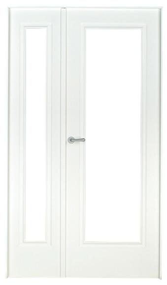 Puerta De Interior Con Cristal Boston Lacada Blanca Doble