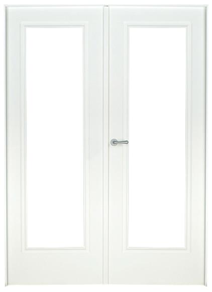 Puerta de interior sin cristal boston lacada blanca doble for Puerta blanca cristal