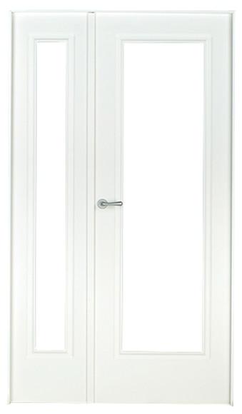 Puerta de interior sin cristal boston lacada blanca doble for Puerta lacada blanca con cristal