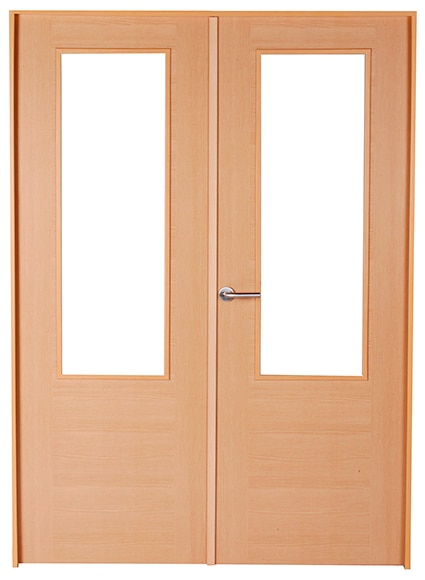 Puerta de interior con cristal canarias haya doble ref for Puerta doble interior