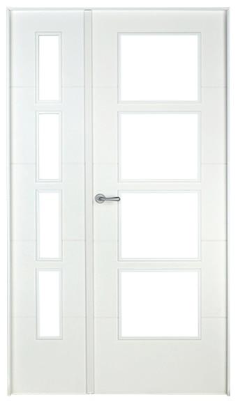 Puerta de interior sin cristal holanda lacada blanca doble for Puerta blanca cristal