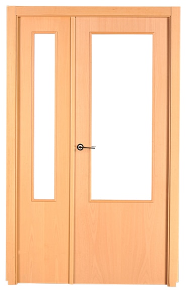 Puerta de interior con cristal lisboa haya doble ref for Puerta doble interior