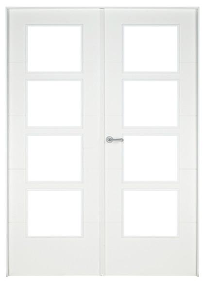 Puerta de interior con cristal lucerna lacada blanca doble for Puerta lacada blanca con cristal