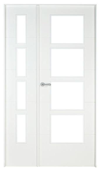 Puerta de interior sin cristal lucerna lacada blanca doble for Puerta blanca cristal