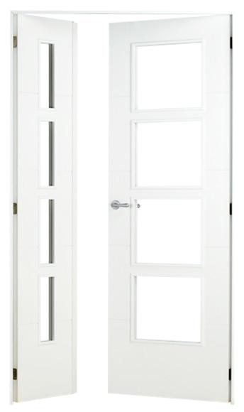 Puerta de interior sin cristal lucerna lacada blanca doble for Puerta lacada blanca con cristal